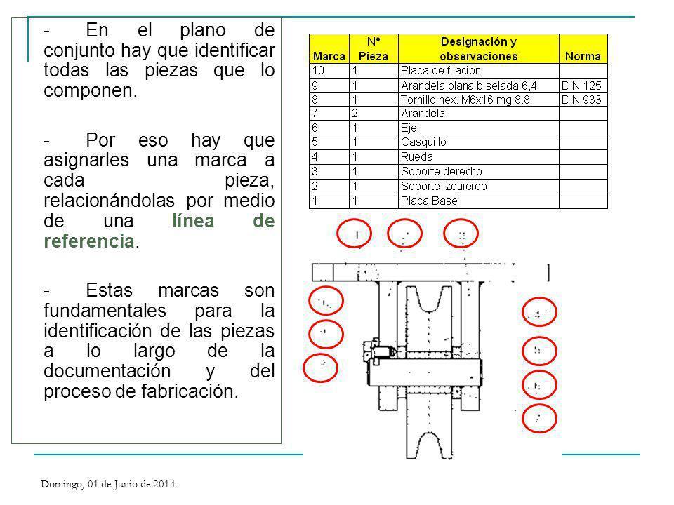-En el plano de conjunto hay que identificar todas las piezas que lo componen. -Por eso hay que asignarles una marca a cada pieza, relacionándolas por