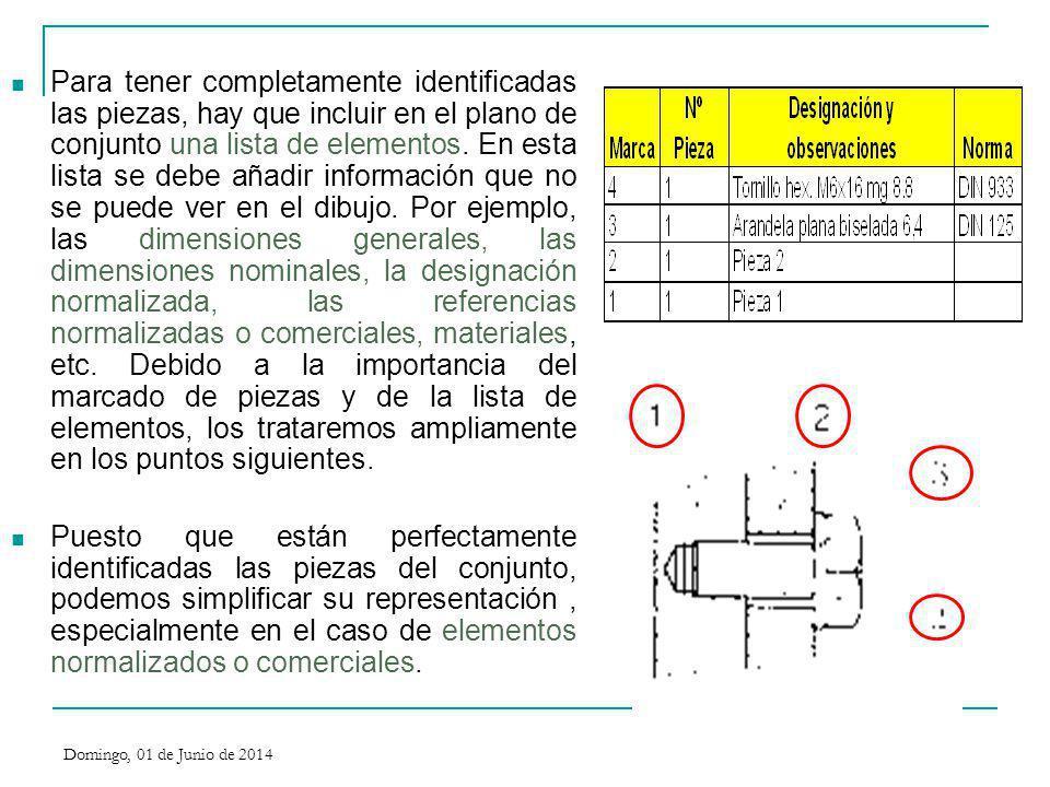 Para tener completamente identificadas las piezas, hay que incluir en el plano de conjunto una lista de elementos. En esta lista se debe añadir inform