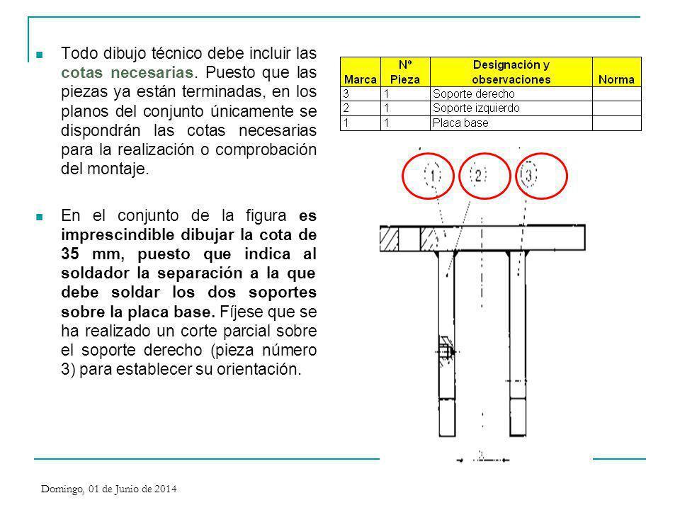 Todo dibujo técnico debe incluir las cotas necesarias. Puesto que las piezas ya están terminadas, en los planos del conjunto únicamente se dispondrán