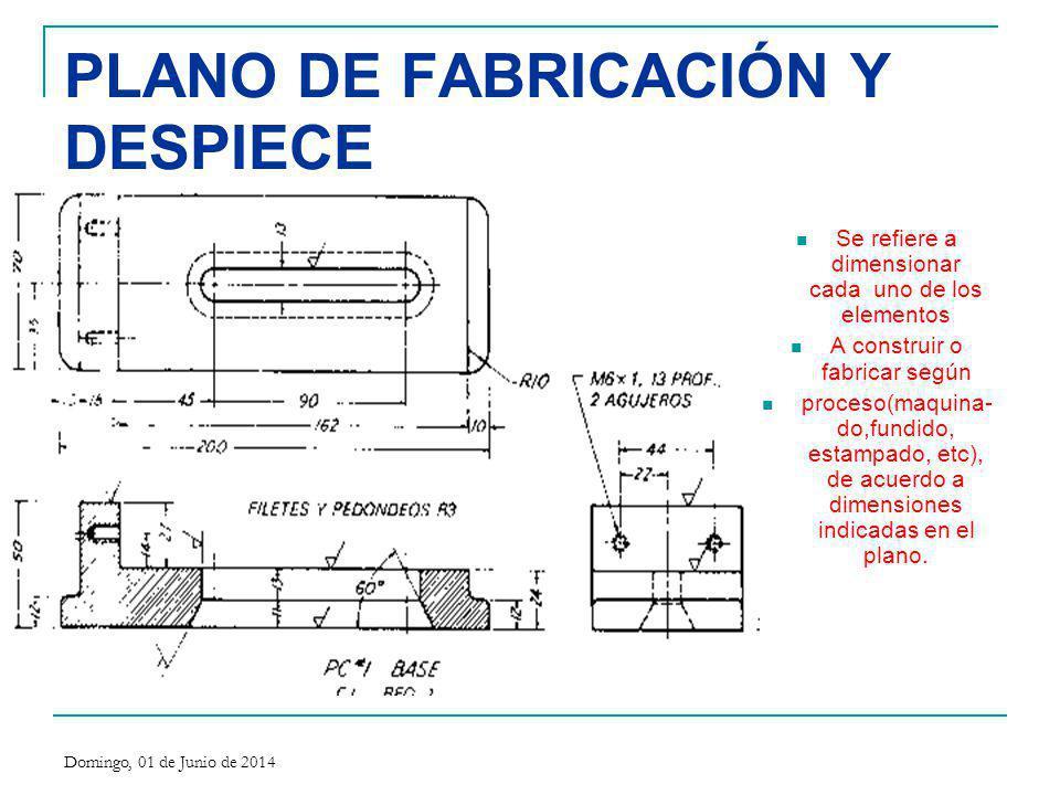 PLANO DE FABRICACIÓN Y DESPIECE Se refiere a dimensionar cada uno de los elementos A construir o fabricar según proceso(maquina- do,fundido, estampado