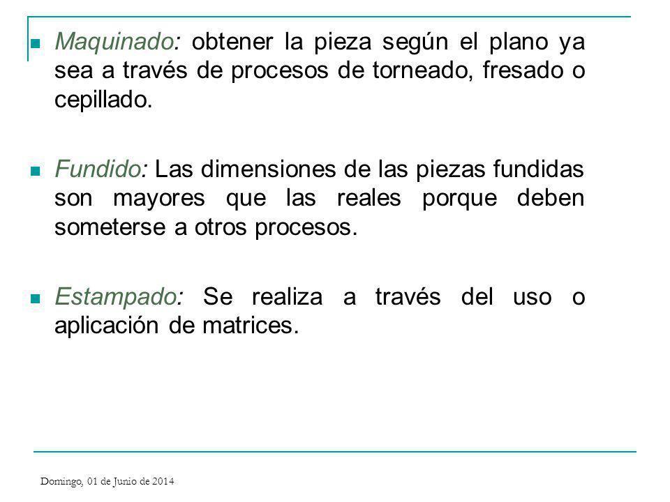 Maquinado: obtener la pieza según el plano ya sea a través de procesos de torneado, fresado o cepillado. Fundido: Las dimensiones de las piezas fundid