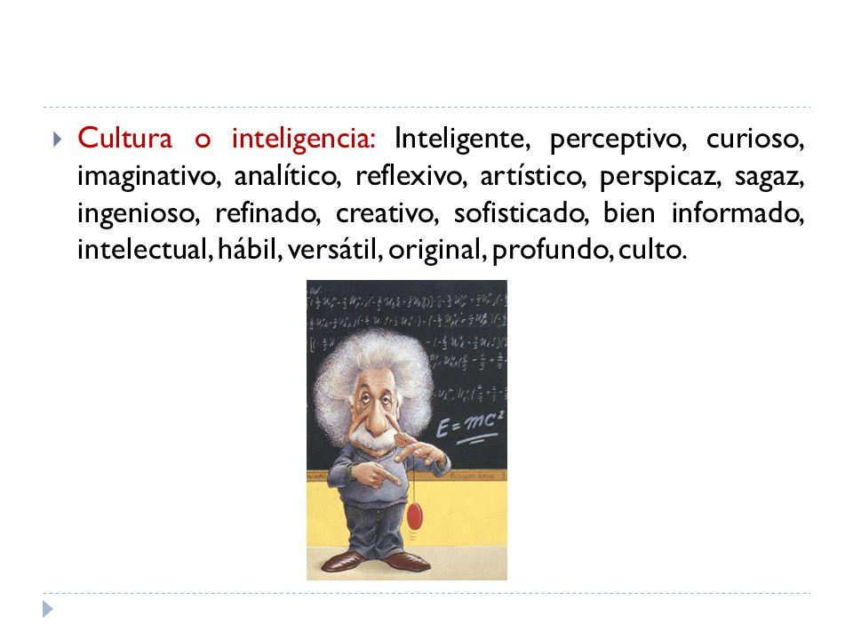 Cultura o inteligencia: Inteligente, perceptivo, curioso, imaginativo, analítico, reflexivo, artístico, perspicaz, sagaz, ingenioso, refinado, creativ