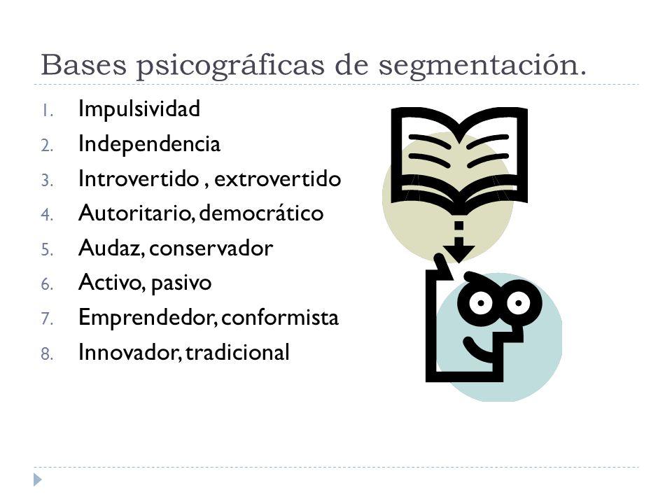 Bases psicográficas de segmentación. 1. Impulsividad 2. Independencia 3. Introvertido, extrovertido 4. Autoritario, democrático 5. Audaz, conservador
