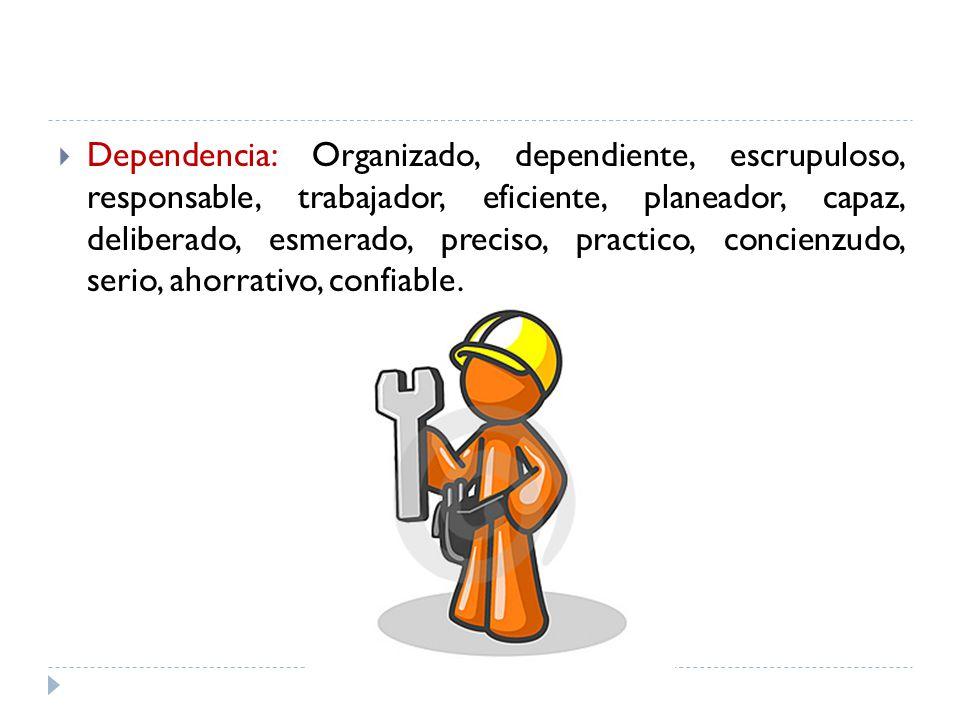 Dependencia: Organizado, dependiente, escrupuloso, responsable, trabajador, eficiente, planeador, capaz, deliberado, esmerado, preciso, practico, conc