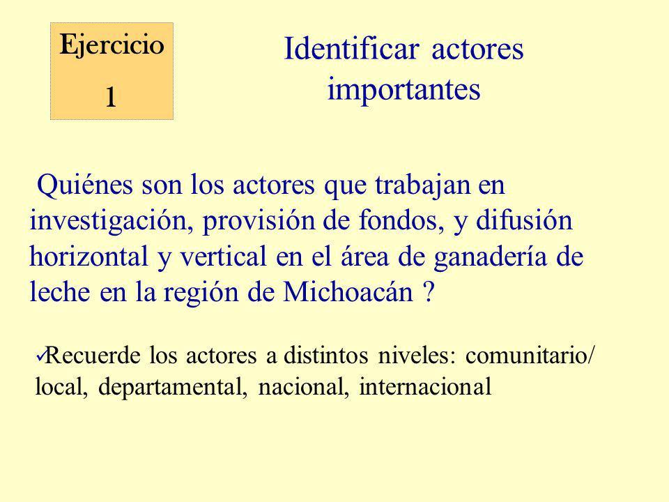 Identificar actores importantes Ejercicio 1 Quiénes son los actores que trabajan en investigación, provisión de fondos, y difusión horizontal y vertical en el área de ganadería de leche en la región de Michoacán .