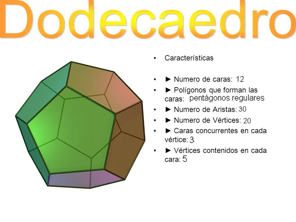 Características Numero de caras: Polígonos que forman las caras: Numero de Aristas: Numero de Vértices: Caras concurrentes en cada vértice: Vértices c