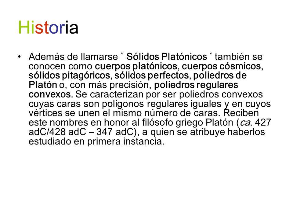 Historia Además de llamarse ` Sólidos Platónicos ´ también se conocen como cuerpos platónicos, cuerpos cósmicos, sólidos pitagóricos, sólidos perfecto