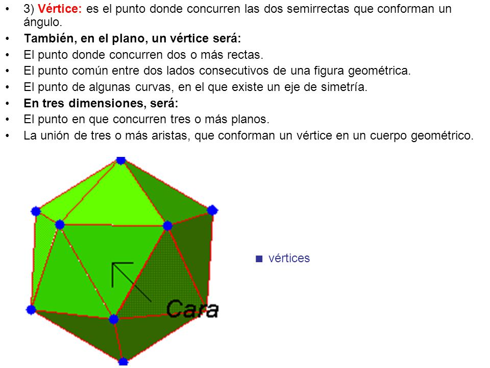 3) Vértice: es el punto donde concurren las dos semirrectas que conforman un ángulo. También, en el plano, un vértice será: El punto donde concurren d