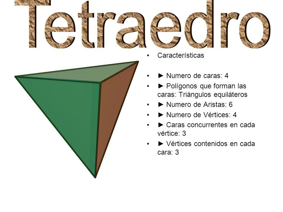 Características Numero de caras: 4 Polígonos que forman las caras: Triángulos equiláteros Numero de Aristas: 6 Numero de Vértices: 4 Caras concurrente