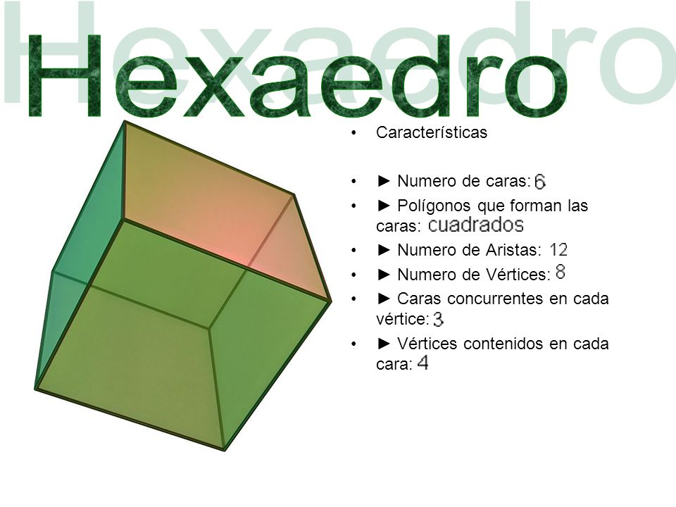 Características Numero de caras: Polígonos que forman las caras: Numero de Aristas: Numero de Vértices: Caras concurrentes en cada vértice: Vértices contenidos en cada cara: