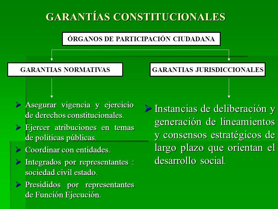 GARANTÍAS CONSTITUCIONALES Asegurar vigencia y ejercicio de derechos constitucionales.