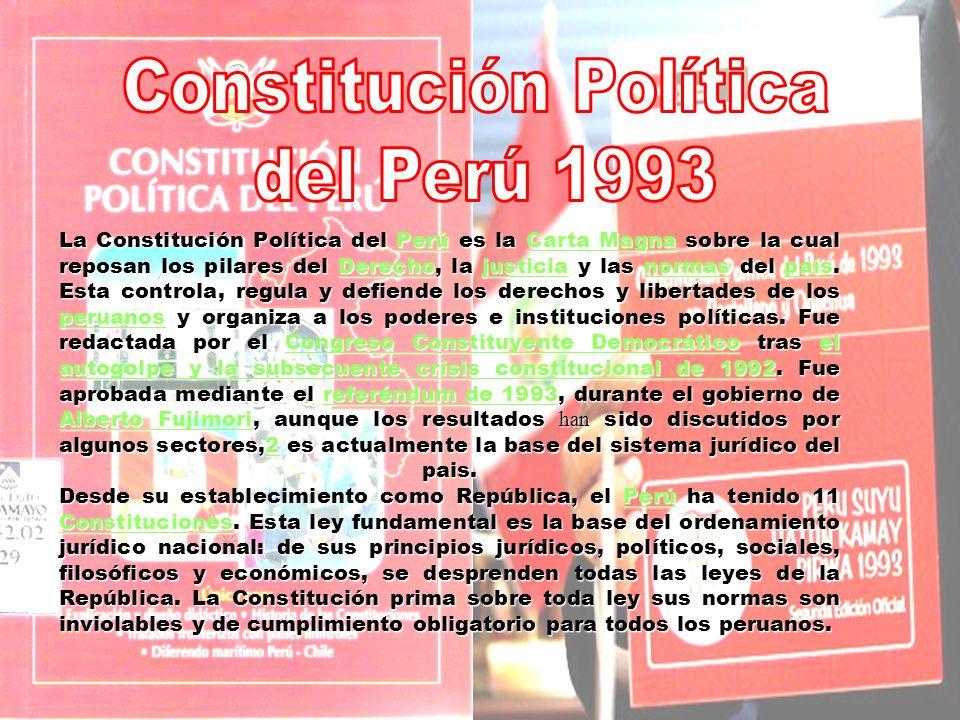 La Constitución Política del Perú es la Carta Magna sobre la cual reposan los pilares del Derecho, la justicia y las normas del país. Esta controla, r