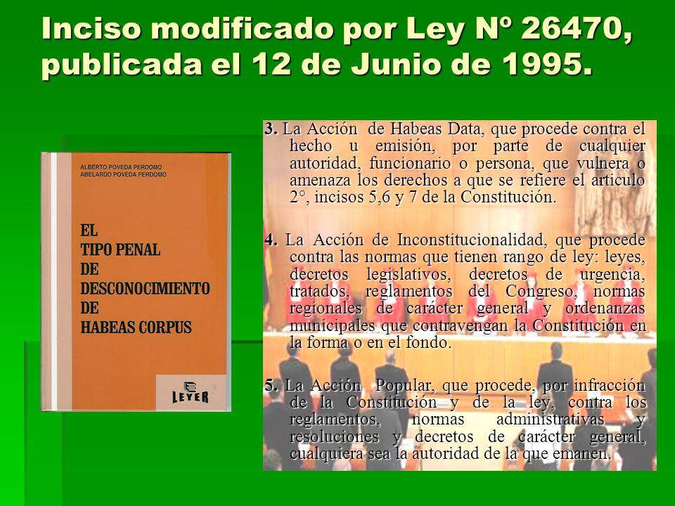 Inciso modificado por Ley Nº 26470, publicada el 12 de Junio de 1995. 3. La Acción de Habeas Data, que procede contra el hecho u emisión, por parte de