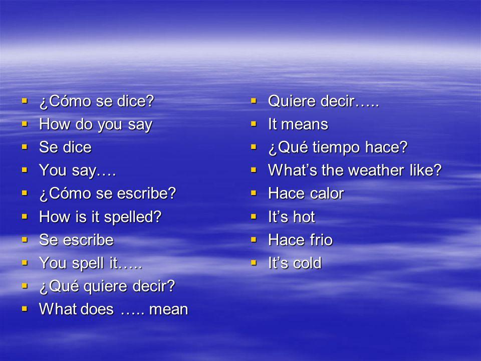¿Cómo se dice.¿Cómo se dice. How do you say How do you say Se dice Se dice You say….