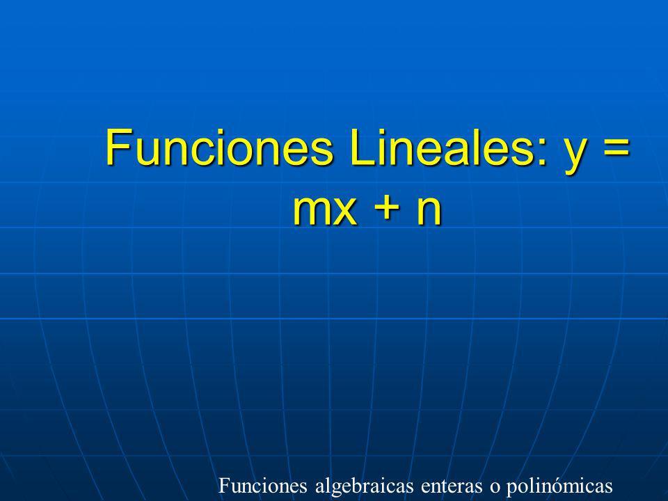 Clasificación de las funciones de variable real F. Lineal: y = mx + n F. Cuadrática: y = ax 2 +bx+c Otras funciones polinómicas Enteras o Polinómicas
