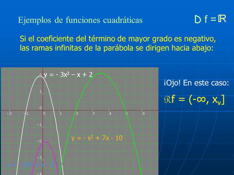Ejemplos de funciones cuadráticas D f = y = x 2 - 3x + 2 y = 3x 2 + 2x +1 y = 20x 2 - 20x + 5