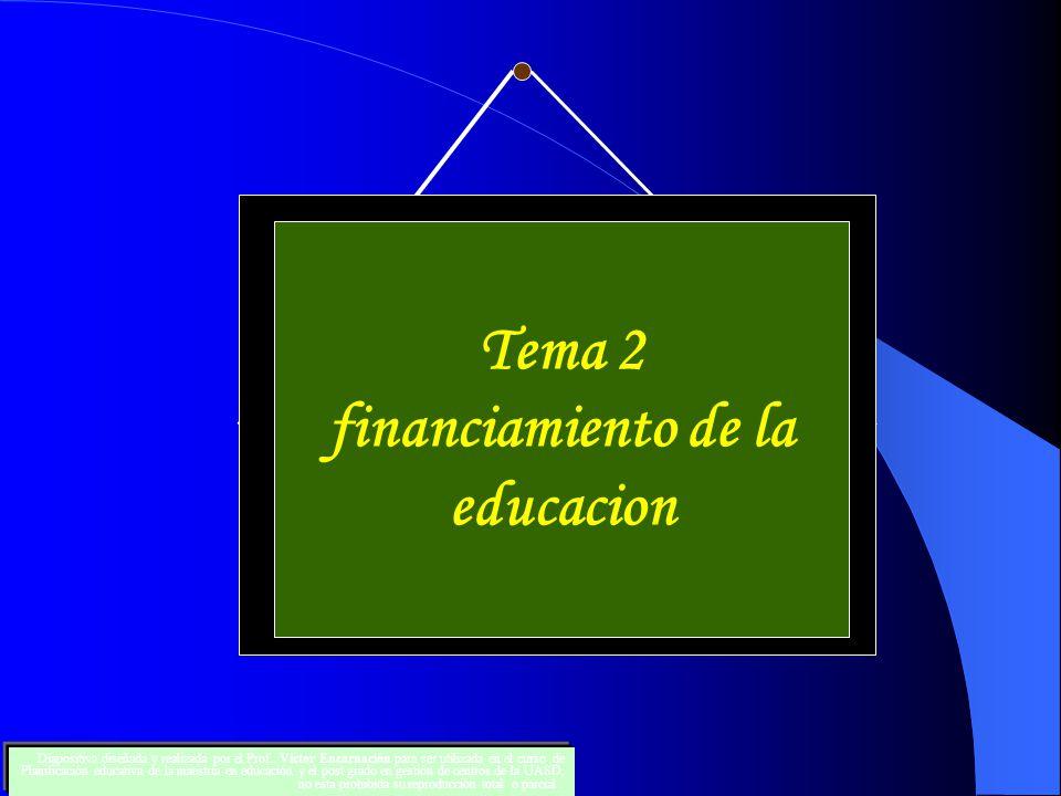 Tema 2 financiamiento de la educacion Diapositiva diseñada y realizada por el Prof.. Victor Encarnación para ser utilizada en el curso de Planificació