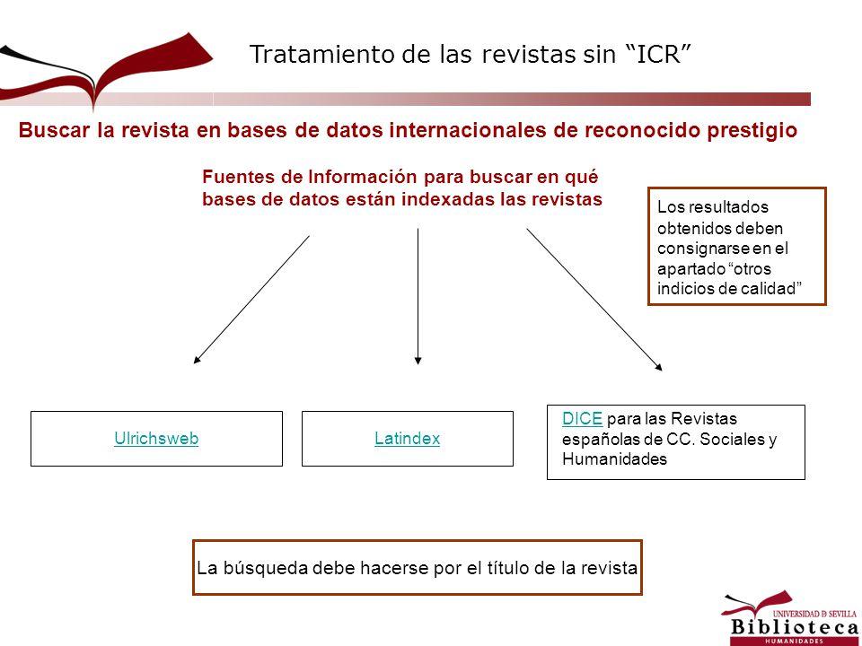 Buscar la revista en bases de datos internacionales de reconocido prestigio DICEDICE para las Revistas españolas de CC. Sociales y Humanidades Ulrichs