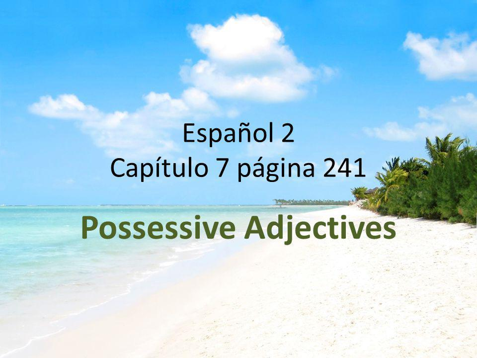 Español 2 Capítulo 7 página 241 Possessive Adjectives
