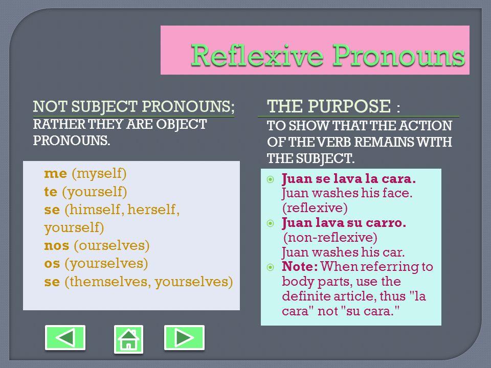 NOT SUBJECT PRONOUNS; RATHER THEY ARE OBJECT PRONOUNS.