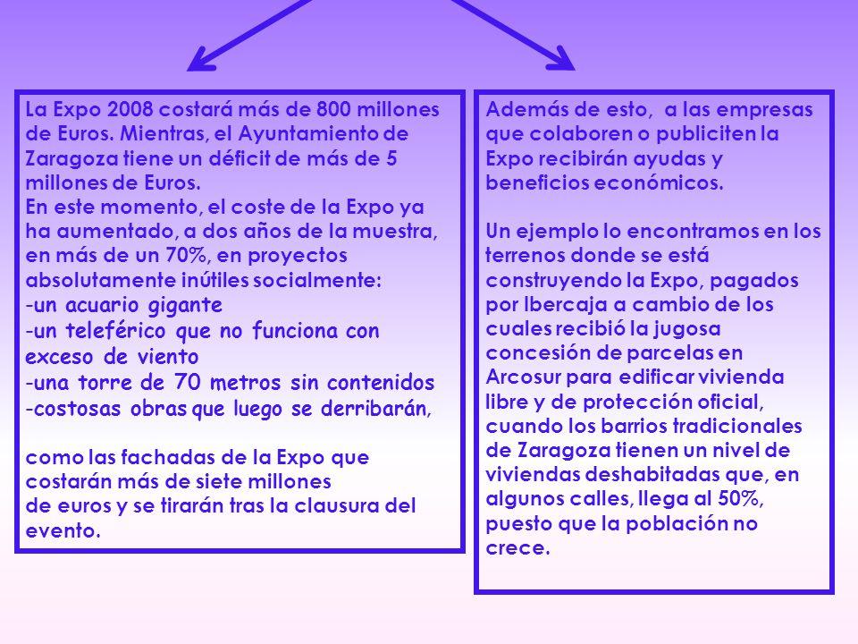 La Expo 2008 costará más de 800 millones de Euros.