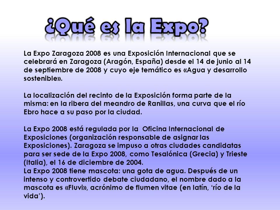 La Expo Zaragoza 2008 es una Exposición Internacional que se celebrará en Zaragoza (Aragón, España) desde el 14 de junio al 14 de septiembre de 2008 y cuyo eje temático es «Agua y desarrollo sostenible».