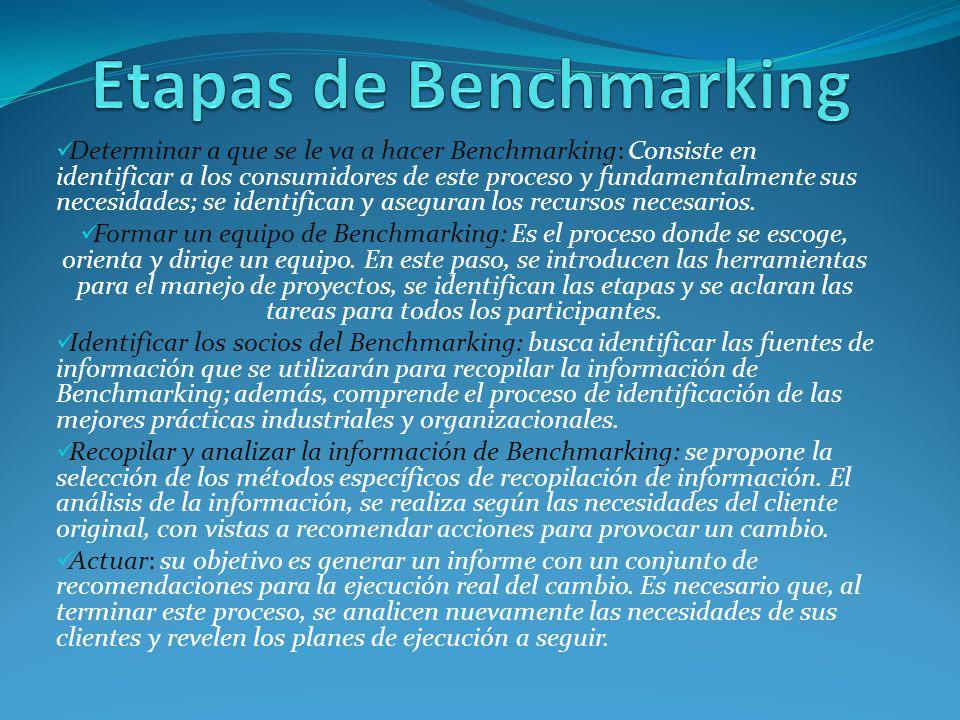 Determinar a que se le va a hacer Benchmarking: Consiste en identificar a los consumidores de este proceso y fundamentalmente sus necesidades; se iden