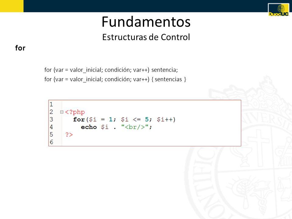 Fundamentos Estructuras de Control for for (var = valor_inicial; condición; var++) sentencia; for (var = valor_inicial; condición; var++) { sentencias }