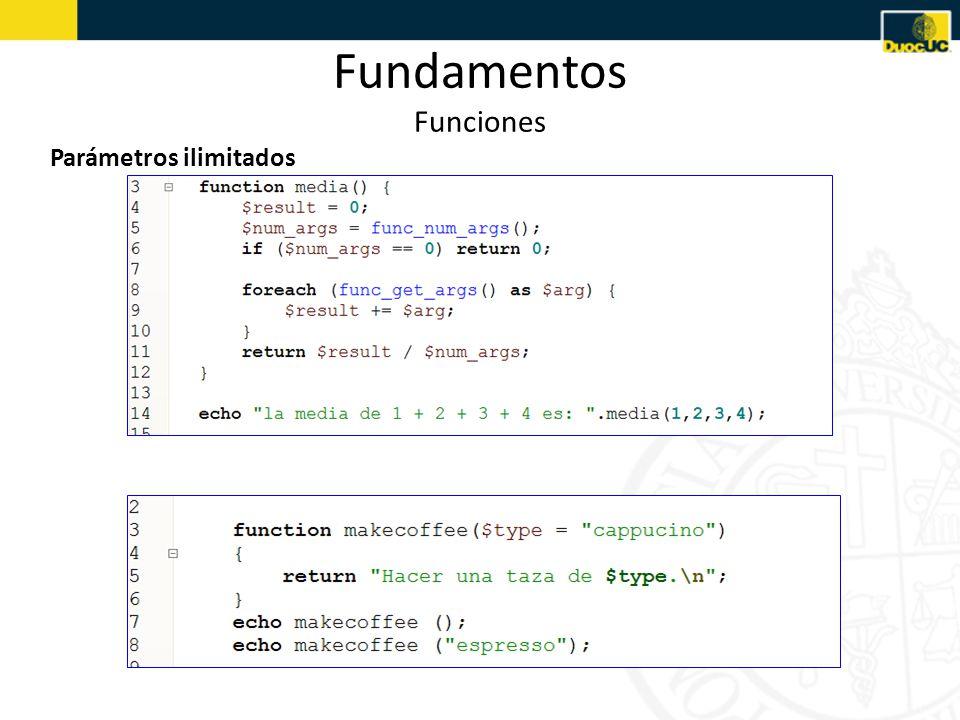 Fundamentos Funciones Parámetros ilimitados