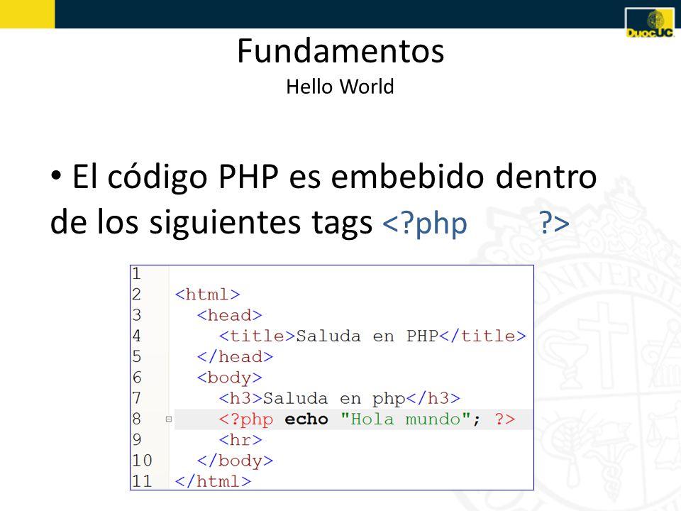 Fundamentos Hello World El código PHP es embebido dentro de los siguientes tags
