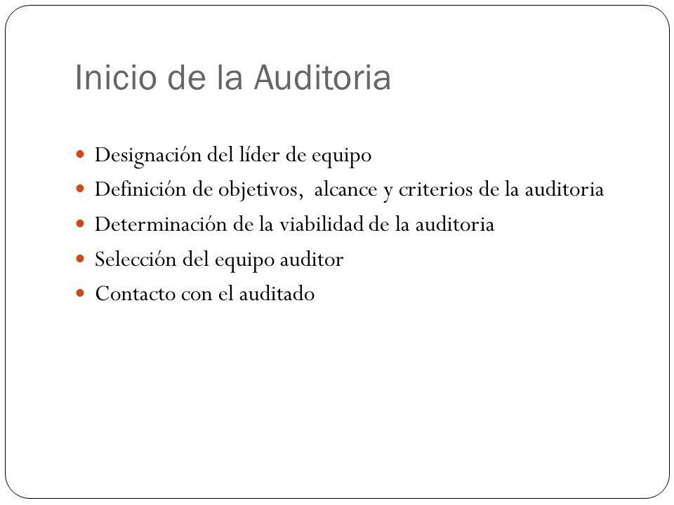 Inicio de la Auditoria Designación del líder de equipo Definición de objetivos, alcance y criterios de la auditoria Determinación de la viabilidad de la auditoria Selección del equipo auditor Contacto con el auditado