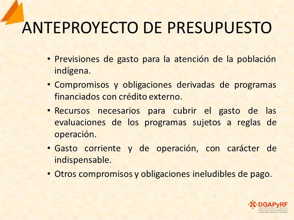 ANTEPROYECTO DE PRESUPUESTO Previsiones de gasto para la atención de la población indígena.