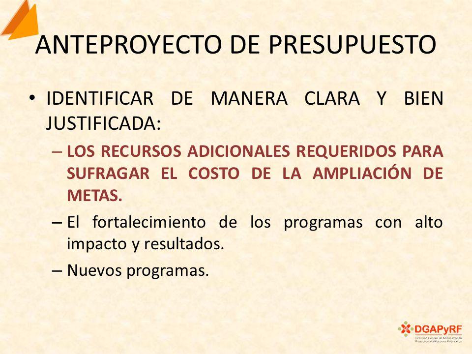 ANTEPROYECTO DE PRESUPUESTO IDENTIFICAR DE MANERA CLARA Y BIEN JUSTIFICADA: – LOS RECURSOS ADICIONALES REQUERIDOS PARA SUFRAGAR EL COSTO DE LA AMPLIACIÓN DE METAS.