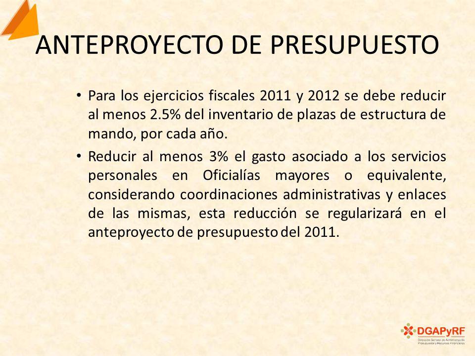 ANTEPROYECTO DE PRESUPUESTO Para los ejercicios fiscales 2011 y 2012 se debe reducir al menos 2.5% del inventario de plazas de estructura de mando, por cada año.