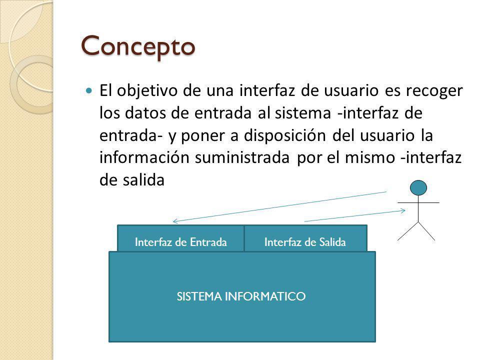 Concepto El objetivo de una interfaz de usuario es recoger los datos de entrada al sistema -interfaz de entrada- y poner a disposición del usuario la información suministrada por el mismo -interfaz de salida Interfaz de SalidaInterfaz de Entrada SISTEMA INFORMATICO