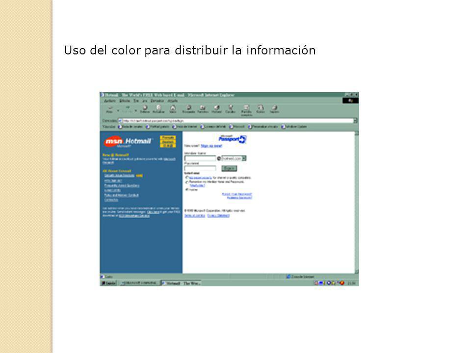Uso del color para distribuir la información