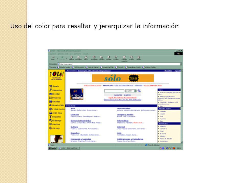 Uso del color para resaltar y jerarquizar la información