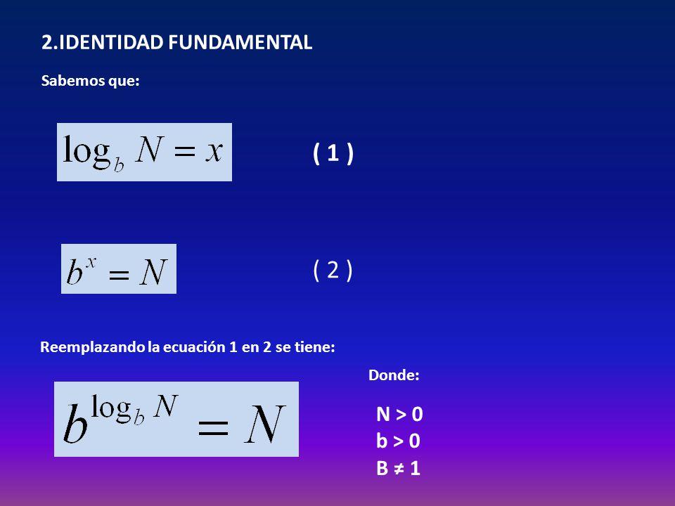 2.IDENTIDAD FUNDAMENTAL Sabemos que: ( 1 ) ( 2 ) Reemplazando la ecuación 1 en 2 se tiene: Donde: N > 0 b > 0 B 1