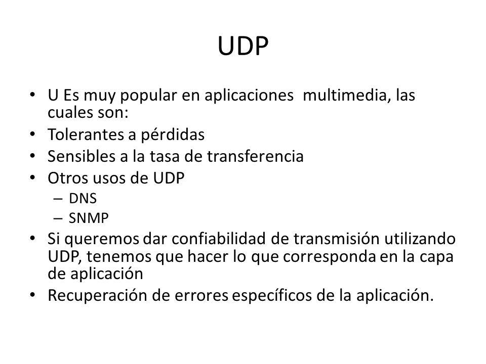UDP U Es muy popular en aplicaciones multimedia, las cuales son: Tolerantes a pérdidas Sensibles a la tasa de transferencia Otros usos de UDP – DNS –