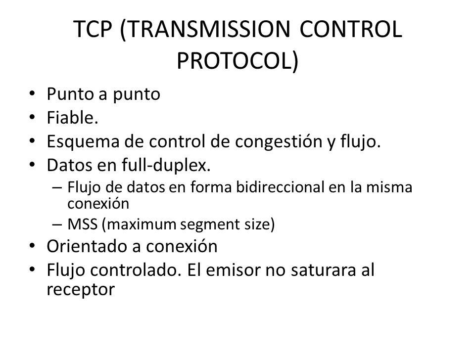 TCP (TRANSMISSION CONTROL PROTOCOL) Punto a punto Fiable. Esquema de control de congestión y flujo. Datos en full-duplex. – Flujo de datos en forma bi