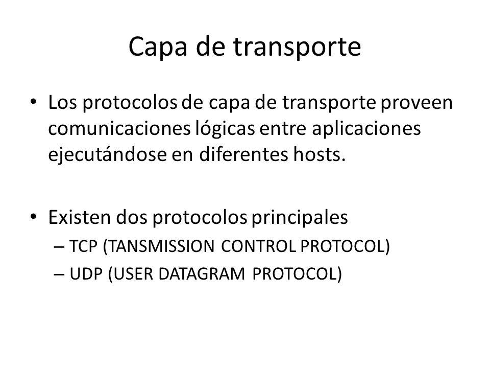 Los protocolos de capa de transporte proveen comunicaciones lógicas entre aplicaciones ejecutándose en diferentes hosts. Existen dos protocolos princi