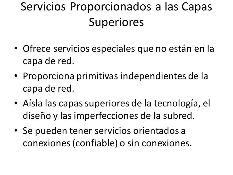 Servicios Proporcionados a las Capas Superiores Ofrece servicios especiales que no están en la capa de red. Proporciona primitivas independientes de l