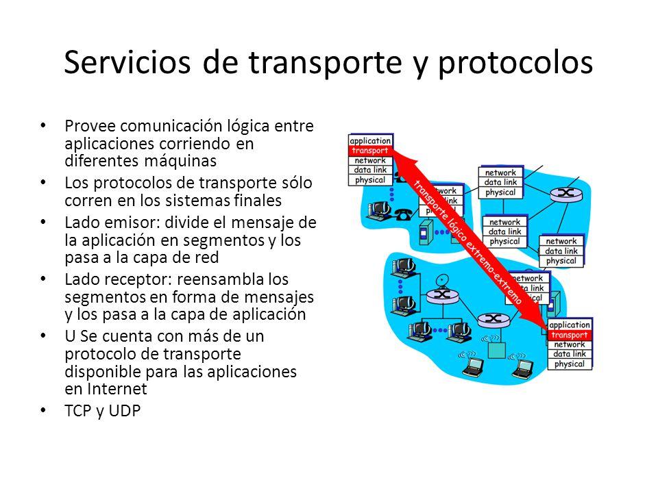 Servicios de transporte y protocolos Provee comunicación lógica entre aplicaciones corriendo en diferentes máquinas Los protocolos de transporte sólo