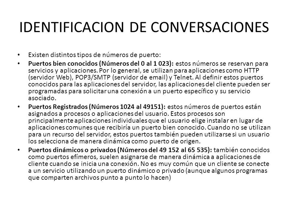 IDENTIFICACION DE CONVERSACIONES Existen distintos tipos de números de puerto: Puertos bien conocidos (Números del 0 al 1 023): estos números se reser