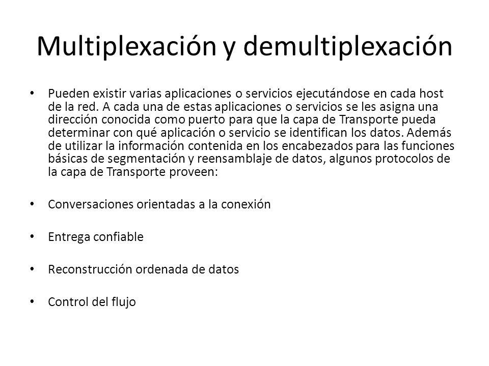 Multiplexación y demultiplexación Pueden existir varias aplicaciones o servicios ejecutándose en cada host de la red. A cada una de estas aplicaciones