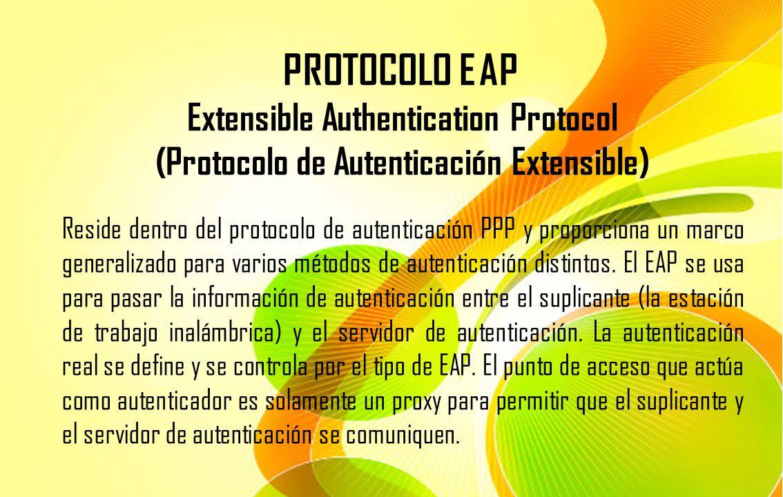 PROTOCOLO EAP Extensible Authentication Protocol (Protocolo de Autenticación Extensible) Reside dentro del protocolo de autenticación PPP y proporcion