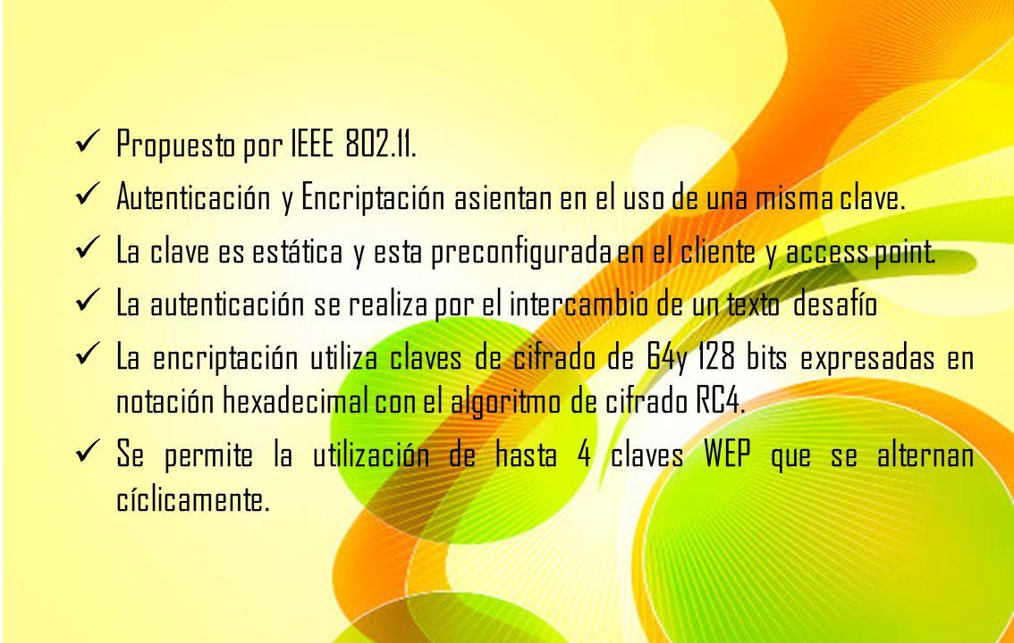 Propuesto por IEEE 802.11. Autenticación y Encriptación asientan en el uso de una misma clave. La clave es estática y esta preconfigurada en el client