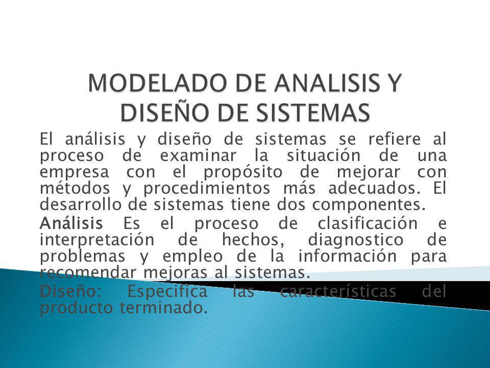 El análisis y diseño de sistemas se refiere al proceso de examinar la situación de una empresa con el propósito de mejorar con métodos y procedimiento