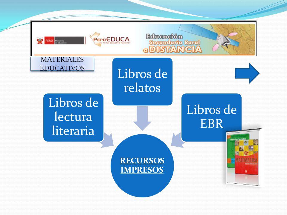 MATERIALES EDUCATIVOS RECURSOS IMPRESOS Libros de lectura literaria Libros de relatos Libros de EBR