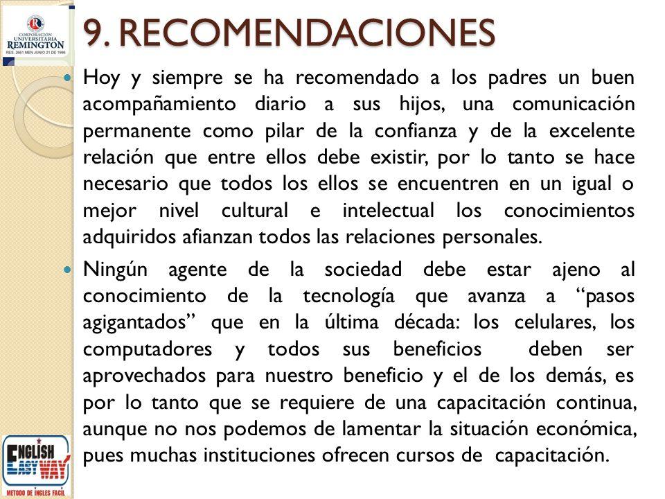 9. RECOMENDACIONES Hoy y siempre se ha recomendado a los padres un buen acompañamiento diario a sus hijos, una comunicación permanente como pilar de l